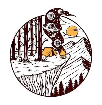 Camping na ilustracji klifu