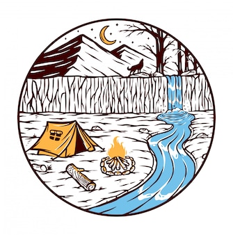 Camping nad rzeką ilustracją