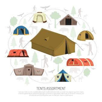 Camping namioty wybór kompozycji plakat reklamowy
