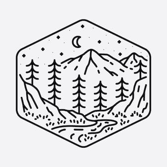 Camping natura przygoda dzika linia odznaka łatka szpilka graficzna ilustracja projekt koszulki artystycznej
