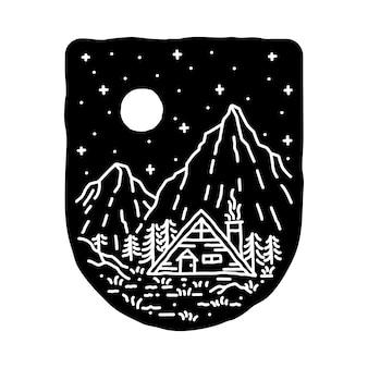 Camping natura przygoda dzika linia odznaka patch pin graficzny ilustracja