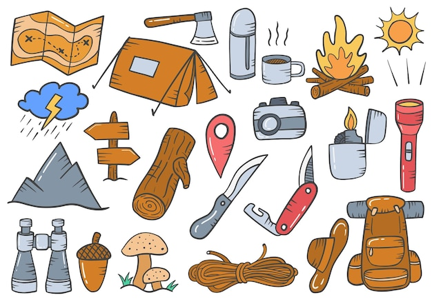 Camping outdoor concept doodle ręcznie rysowane kolekcje zestawów z płaskim konturem