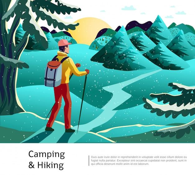 Camping piesze wycieczki plakat w tle