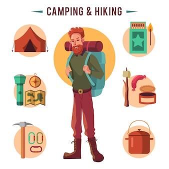 Camping płaski zestaw z sprzęt turystyczny i ikony gotowania na zewnątrz