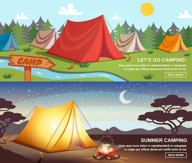 Camping poziome banery