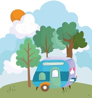 Camping przyczepa krzak drzewa łąka słońce chmura kreskówka