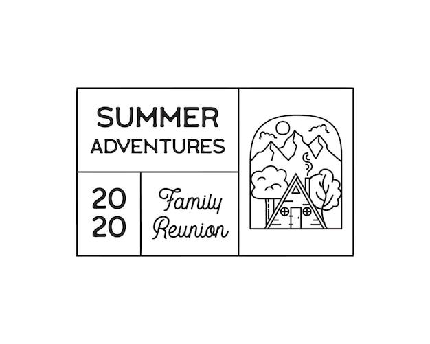 Camping przygoda logo godło ilustracja projekt. etykieta zewnętrzna z drewnianym domkiem, sceną górską i tekstem - letnie przygody family reunion. niezwykła naklejka liniowa. wektor zapasowy.