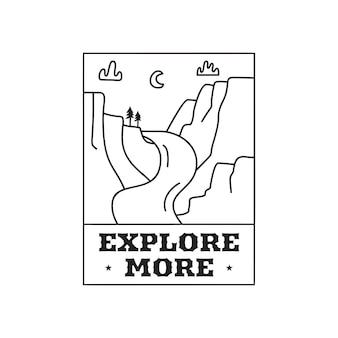 Camping przygoda logo godło ilustracja projekt. etykieta zewnętrzna z krajobrazem górskim i tekstem — dowiedz się więcej. niezwykła liniowa naklejka hipster. wektor zapasowy.