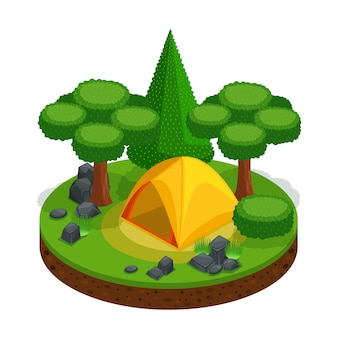 Camping, rekreacja na świeżym powietrzu, namiot, krajobraz do gier wideo, piękny. leśne kamienie natura wolność