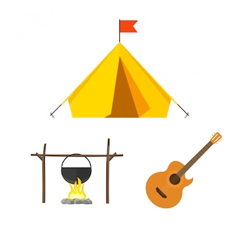 Camping sprzęt wektor zestaw na białym tle