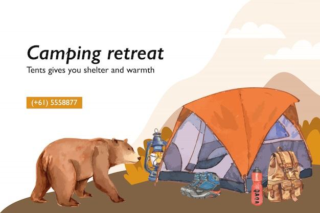 Camping tło z ilustracjami namiotu, latarni, buta, plecaka i kolby.