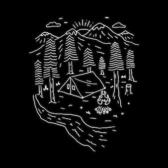 Camping turystyka linia wspinaczkowa graficzna ilustracja projekt koszulki z grafiką wektorową