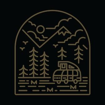 Camping van nature mountain graficzny ilustracja