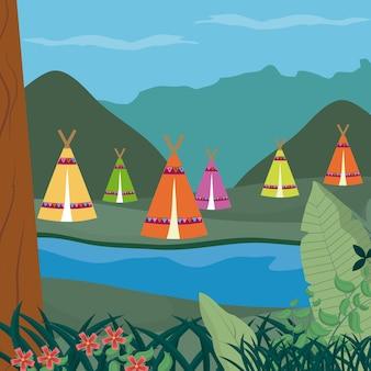 Camping w lesie kreskówka