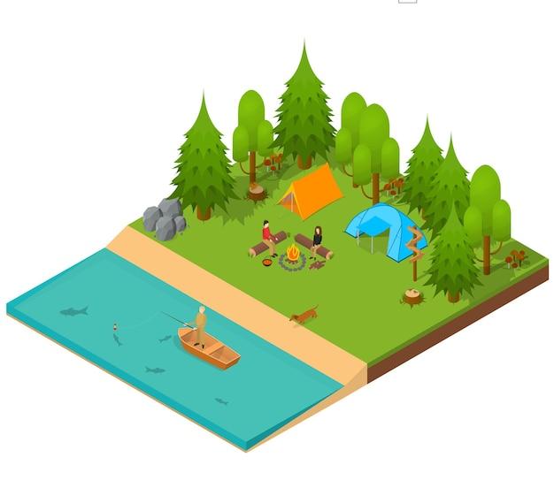 Camping widok izometryczny. krajobraz z ludźmi, namiotem i ogniskiem na świeżym powietrzu.