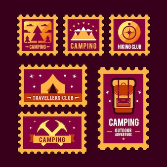 Camping wilderness przygoda odznaka projekt graficzny logo emblemat
