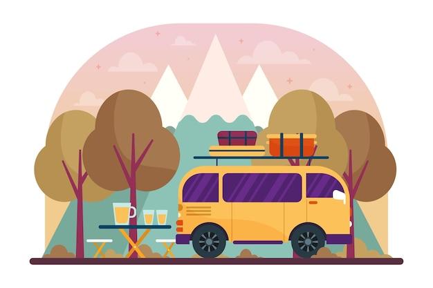 Camping z ilustracją karawany