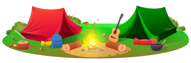 Camping z namiotami sprzęt turystyczny namioty narzędzia