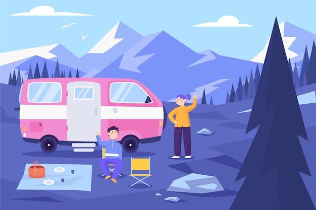 Camping z przyczepą kempingową