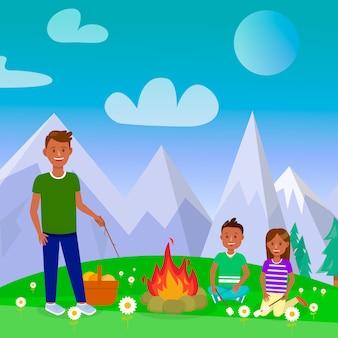 Camping z rodziną wektor plakat kwadrat, pocztówka