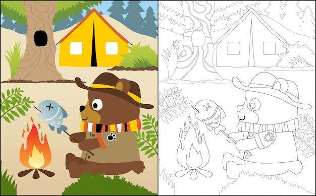 Campingowa kreskówka z śmiesznym niedźwiedziem