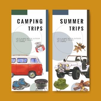 Campingowa ulotka z ilustracjami furgonetki, namiotu i wiadra.