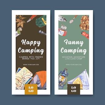 Campingowa ulotka z ilustracjami latarni, namiotu i scyzoryka.