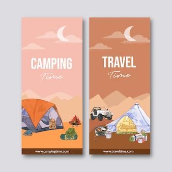 Campingowa ulotka z ilustracjami namiotu, furgonetki, plecaka i konserw.