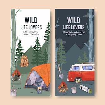 Campingowa ulotka z ilustracjami namiotu, ogniska, plecaka i latarni.