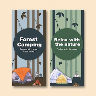 Campingowa ulotka z ilustracjami obozu, latarni, namiotu i czajnika.