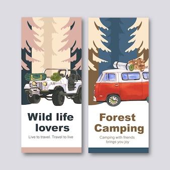 Campingowa ulotka z ilustracjami przedstawiającymi furgonetkę, plecak, czapkę i namiot.