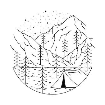 Campingowa wycieczkuje halna kreskowa ilustracja