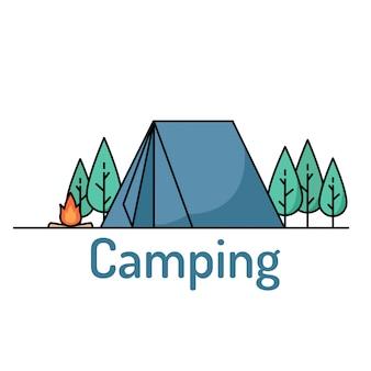 Campingowe ikony z namiotem i obozową pożarniczą ilustracją