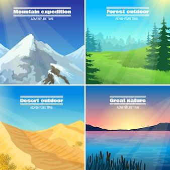 Campingowe krajobrazy 4 płaskie ikony placu