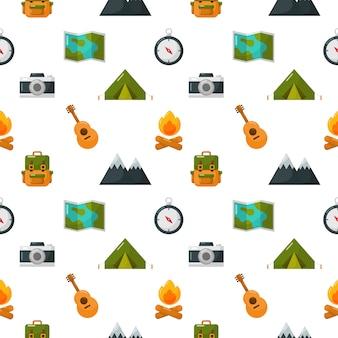 Campingowe wyposażenie ikony ustawiają bezszwowego wzór odizolowywają na bielu