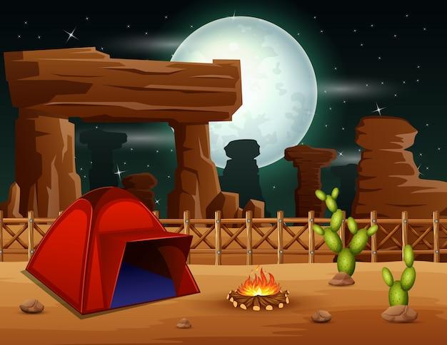 Campingowy nocy tło na pustyni