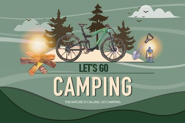 Campingowy tło z ilustracją bicyklu, łopaty, łupki i lampionu.