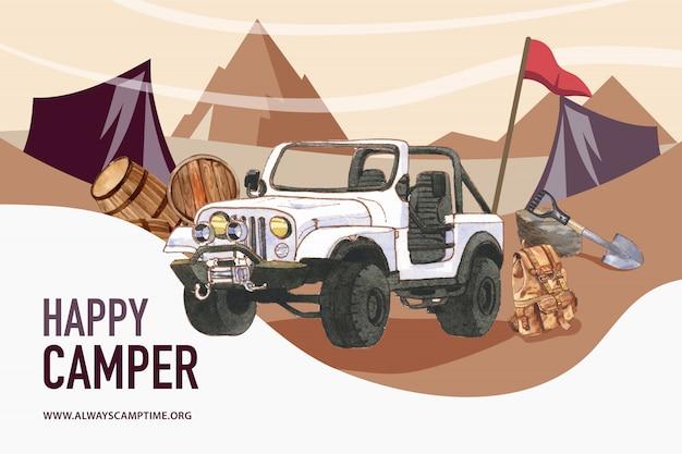 Campingowy tło z ilustracją samochodu, wiadra, łopaty i plecaka.