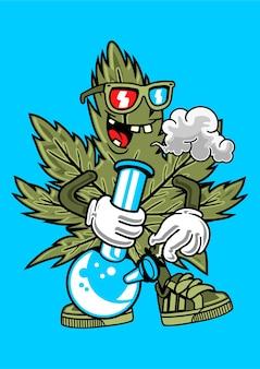 Canabis palenie ilustracja w wyciągnąć rękę