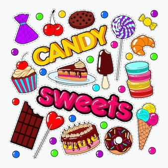 Candy and sweet food doodle z czekoladą i lodami