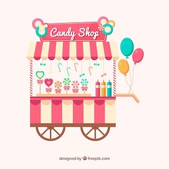 Candy na kółkach z balonami