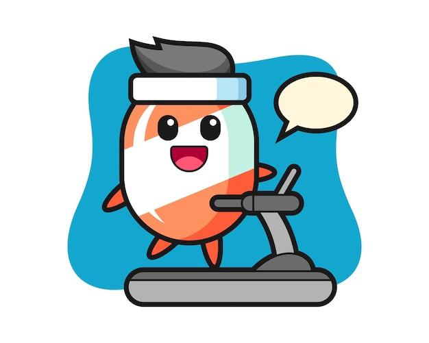 Candy postać z kreskówki chodzenia na bieżni