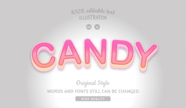 Candy różowy edytowalny tekst z gradientem.