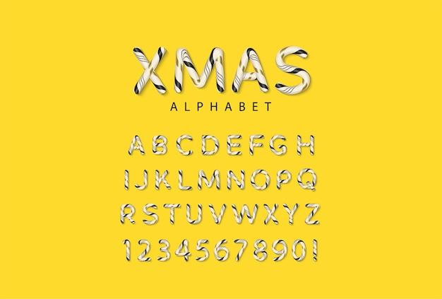 Candy trzciny boże narodzenie alfabet z literami i cyframi
