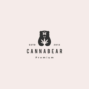 Cannabear konopi niedźwiedź logo hipster retro vintage