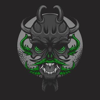 Cannabis czaszka nadaje się do t-shirt ilustracja