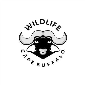 Cape buffalo logo dzikich zwierząt głowy wektor