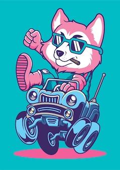 Car racer fox ręcznie rysowane ilustracji
