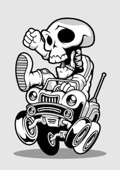 Car racer skull ręcznie rysowane ilustracji
