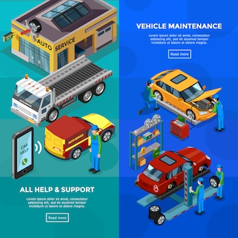 Car service isometric vertical banners